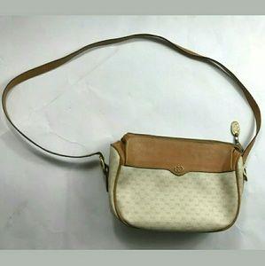 Auth Gucci VTG cream/tan crossbody bag